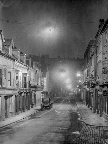 1929 Night view of Lewes High Street