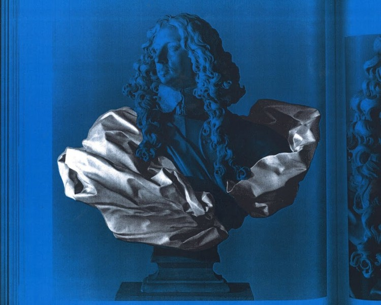 Blue screenprinted bust of Bernini, Andrew Lacon