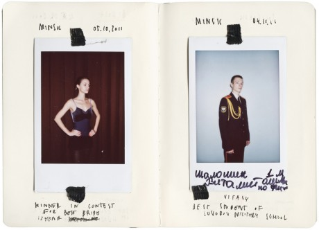 Sputnik Photos, Belarus , polaroid portraits stuck into notebook